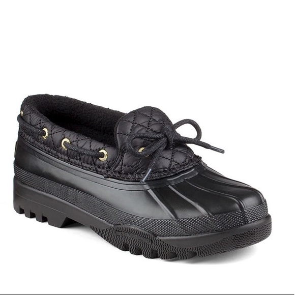 Black Sperry Duckling Rain Shoes